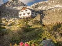 Garibaldi útočiště léto Adamello Itálie - Provincie Val del'Avio Lombaria v Brescii v Itálii