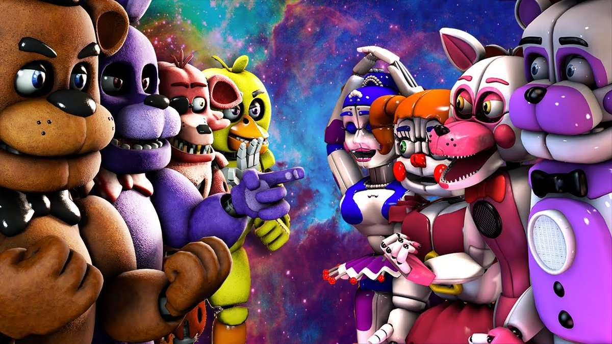 fnaf 1 a sesterské umístění - Fnaf 1 a sesterské umístění fnaf 1: freddy bonnie chica a foxy sesterské umístění: baby funtime freddy funtime foxy a ballora (8×5)
