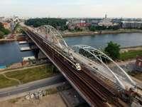 voertuigen op de brug in Krakau