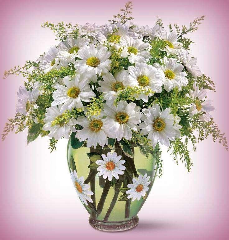 Vaso com margaridas - Um maravilhoso vaso de um buquê de margaridas (11×12)