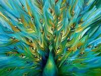Pictură păun verde smarald aur turcoaz - Pictură păun verde smarald aur turcoaz