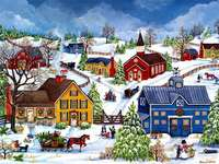 Painting Christmas in winter landscape - Painting Christmas in winter landscape