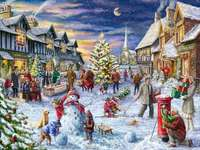 Painting Christmas in winter landscape
