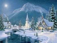 Kerst schilderij in winterlandschap