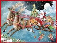Pictând Moș Crăciun cu reni - Pictând Moș Crăciun cu reni