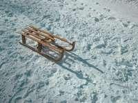 brązowe sanki na śniegu w ciągu dnia - Samotne sanie. Platak, Chorwacja