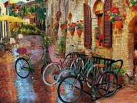straat met huurkazernes in Toscane - m .....................