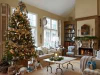 Christmas room with fireplace - m ....................
