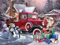 Santa Claus, Red Cars and Snowmen - Santa Claus, Red Cars and Snowmen