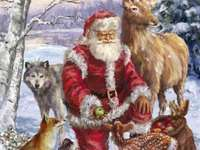 """Santa Claus distributes apples to animals"" - ""Santa Claus distributes apples to animals"" - 9 pieces"