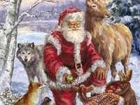 """""""Дядо Коледа раздава ябълки на животни"""""""