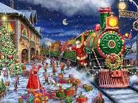 Welcome Santa - Santa Claus, train, gnomes, gifts