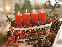Advent candles in a basket - m /////////////// ..............