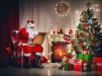 Santa Claus at the Christmas tree - Santa Claus, Christmas tree, gifts