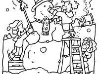 Téli - Ez egy puzzle, téli színező képpel. Gyerekek egy csoportja saját hódzsekit épít.