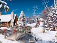 zimní obrázek - zima, zima, sněhulák