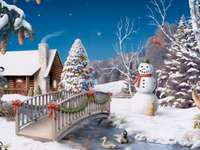 Winterbild - Winter, Kälte, Schneemann