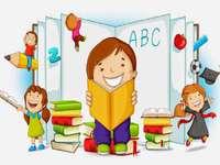Děti s knihami - školní děti, které se rádi učí