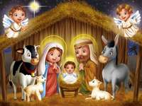 Puzzle: The Manger - Image of the birth of baby Jesus