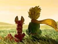 petit Prince - Puzzle représentant un petit prince assis avec son ami renard