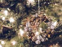 brown and brass-colored bauble hanging decor - Bell Wreath Ornament.