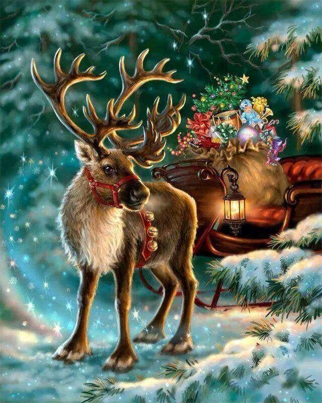 Jultomten - I förgrunden en hjort av jultomten (10×13)