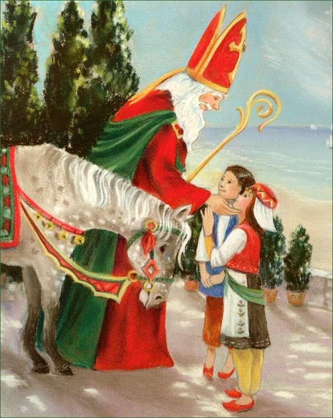 Saint Nicolas - Le Père Noël offre des cadeaux aux enfants en bottes (3×5)