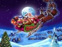 Weihnachtsmann mit dem Schlitten