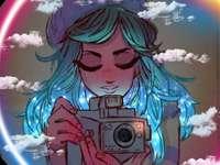 Ярък - Момиче с камера, светещи облаци, красиво, поглед