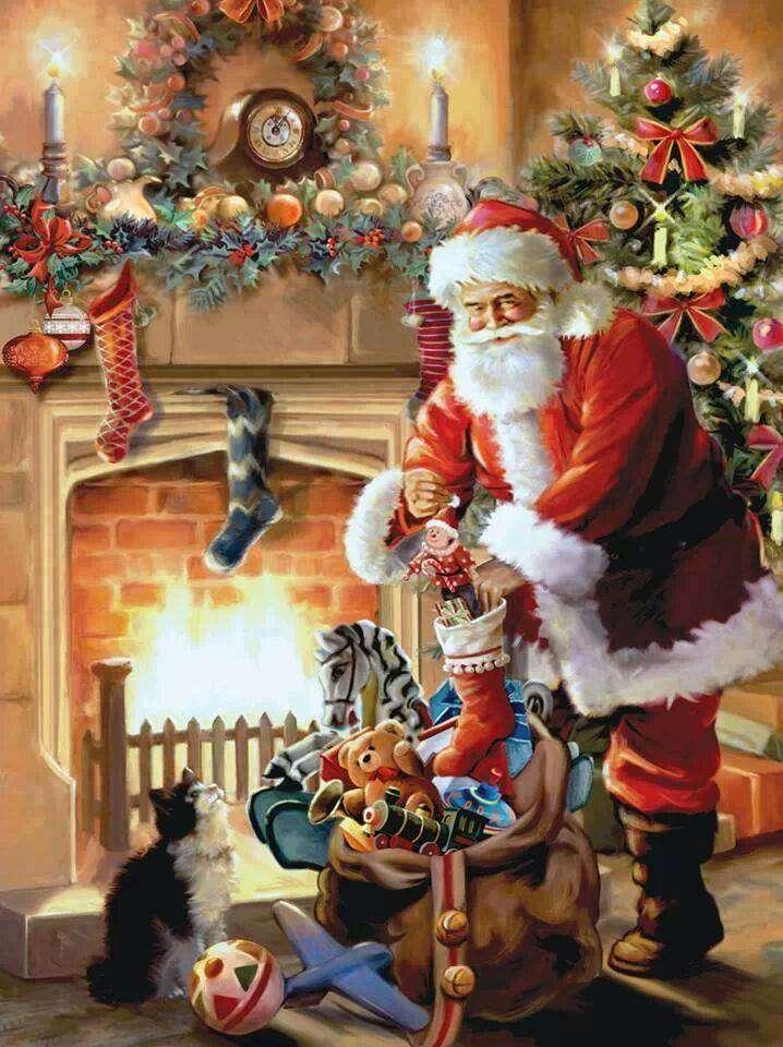 père Noël - Le Père Noël met des cadeaux (9×13)
