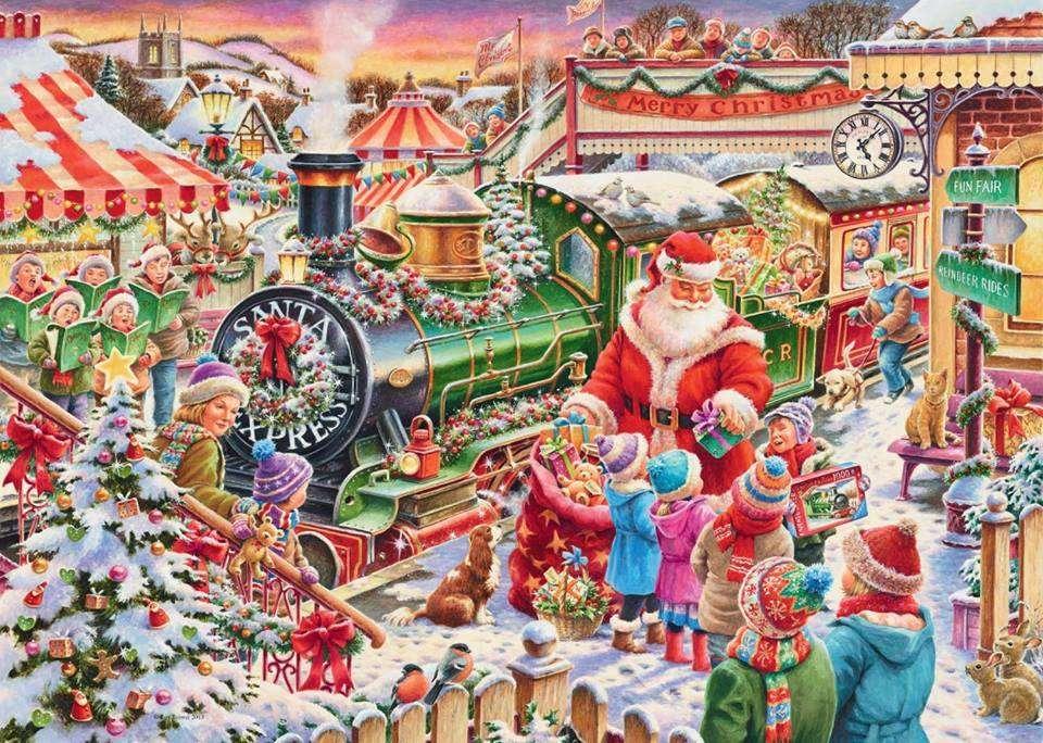 père Noël - Père Noël parmi de nombreux cadeaux (12×9)
