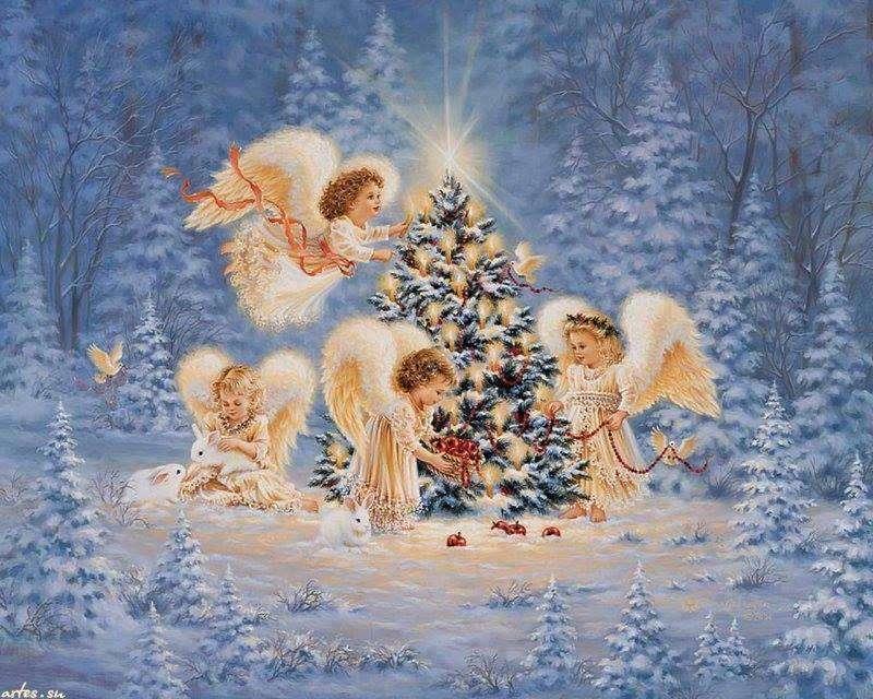 anges - Trois anges décorent un arbre de Noël (12×10)