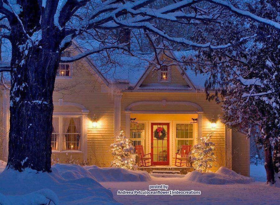 Noël hiver - Décoration devant la maison pour Noël (13×10)