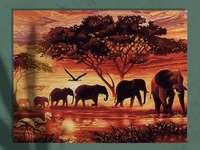 Animaux de la savane - Cette image montre de grands animaux d'éléphants de savane