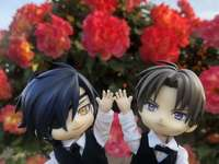 Mitsu, Hasebe and roses - Mitsu and Hasebe in front of pretty roses