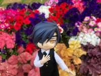 Mitsu in front of a flowerbed - Mitsu elegantly poses in front of pretty flowers