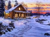 Snötäckt hus och damm - Snötäckt stuga och damm ......