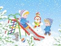 Fuori la neve - In questa immagine vediamo bambini che giocano nella neve.