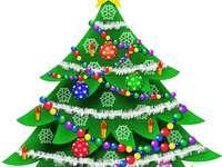 albero di Natale - Metti l'albero di Natale fuori dai pezzi del puzzle.