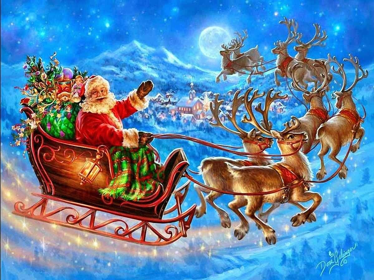 Le Père Noël arrive - Puzzle avec le Père Noël (2×2)