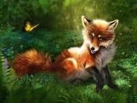fox and moths in the forest. - wdfghjuipkwd, osiary3148