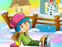 Hai afară la zăpadă - În această imagină este reprezentat un copil care se joacă afară la zăpadă