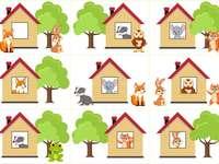 Maisons et arbres - Les positions spatiales sont représentées dans cette image