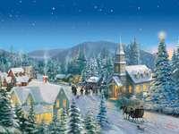 Kinkade Christmas Village - Thomas Kinkade inverno paisagem aldeia natal