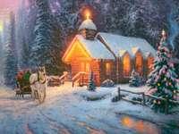 Kinkade - Kerstkerk in het bos - Thomas Kinkade Christmas Church Kerstlandschap besneeuwde bossen bossen