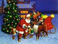 Santa mit Rentier und Schlitten - m ......................