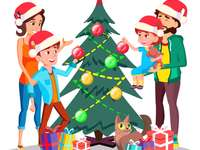La familia decora el árbol de Navidad