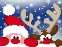 Rompecabezas de santa claus - Papá Noel y renos, Navidad
