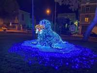 Χριστουγεννιάτικη σφραγίδα - μια μπλε σφραγίδα στα τετράγωνα φώτα των Χριστουγέννω�