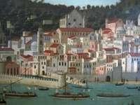 """ősi """"fénykép"""" Nápolyról 1472-1473 Olaszország - panel A Strozzi olaj a panelen, amely Olaszország Nápoly látványát mutatja"""